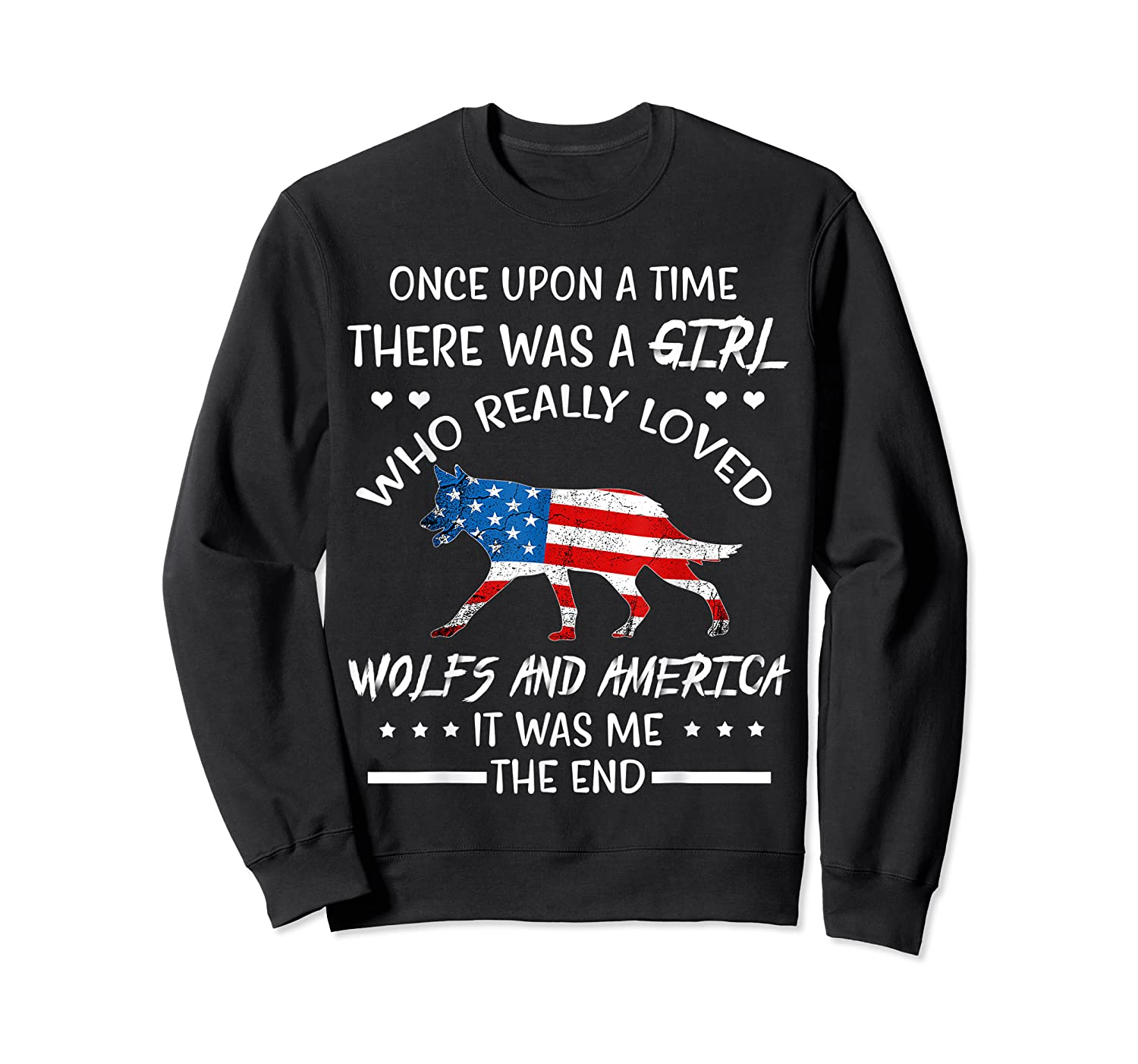 Once Upon A Time Wolf America 4th Of July T Shirt Gifts Crewneck Sweater