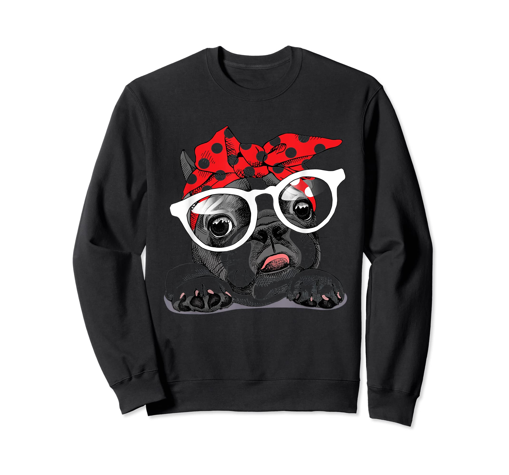 French Bulldog in a headband and with glasses T-Shirt-Sweatshirt-Black