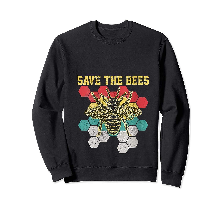 Save The Bees Vintage Retro Beekeeping Beekeeper Gift Shirts Crewneck Sweater