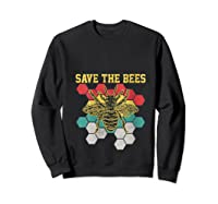 Save The Bees Vintage Retro Beekeeping Beekeeper Gift Shirts Sweatshirt Black