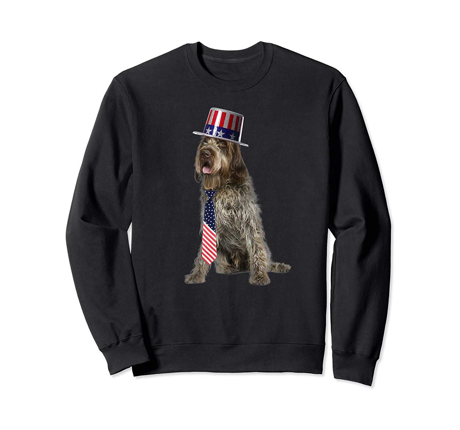 Wirehaired Pointing Griffon 4th Of July Dog In Top Hat Shirts Crewneck Sweater