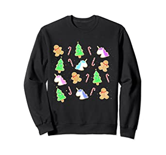 Amazon Com Christmas Unicorn Cookies Sweatshirt Clothing