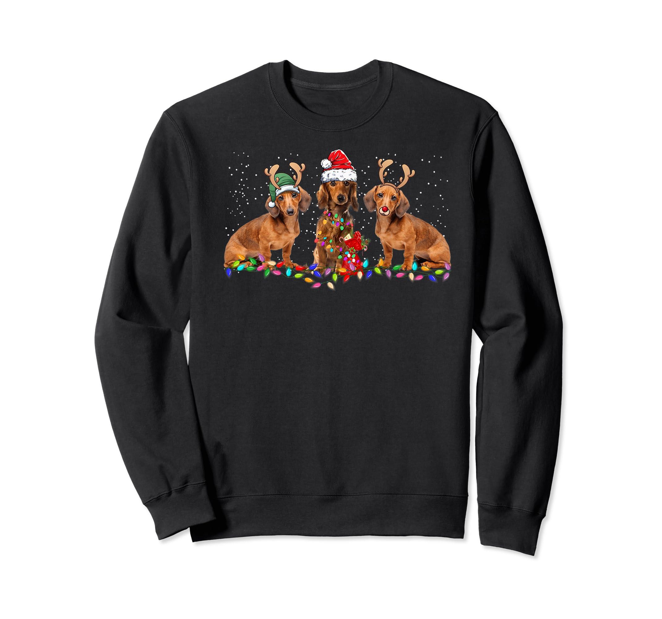 Three Dachshund Dogs Christmas Santa Hat Lights Xmas Gift Premium T-Shirt-Sweatshirt-Black
