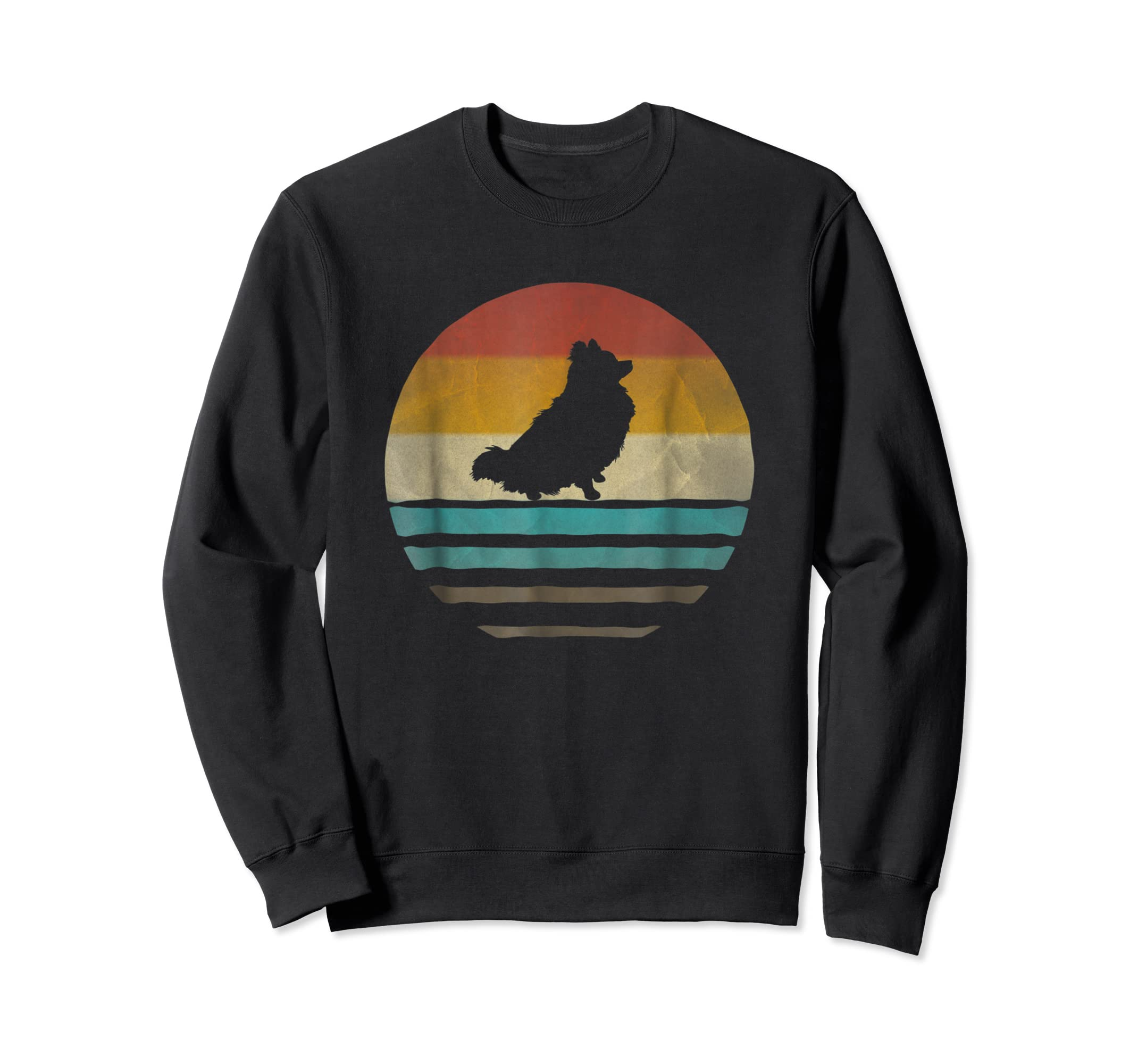 Pomeranian Dog Shirt Retro Vintage 70s Silhouette Distressed-Sweatshirt-Black