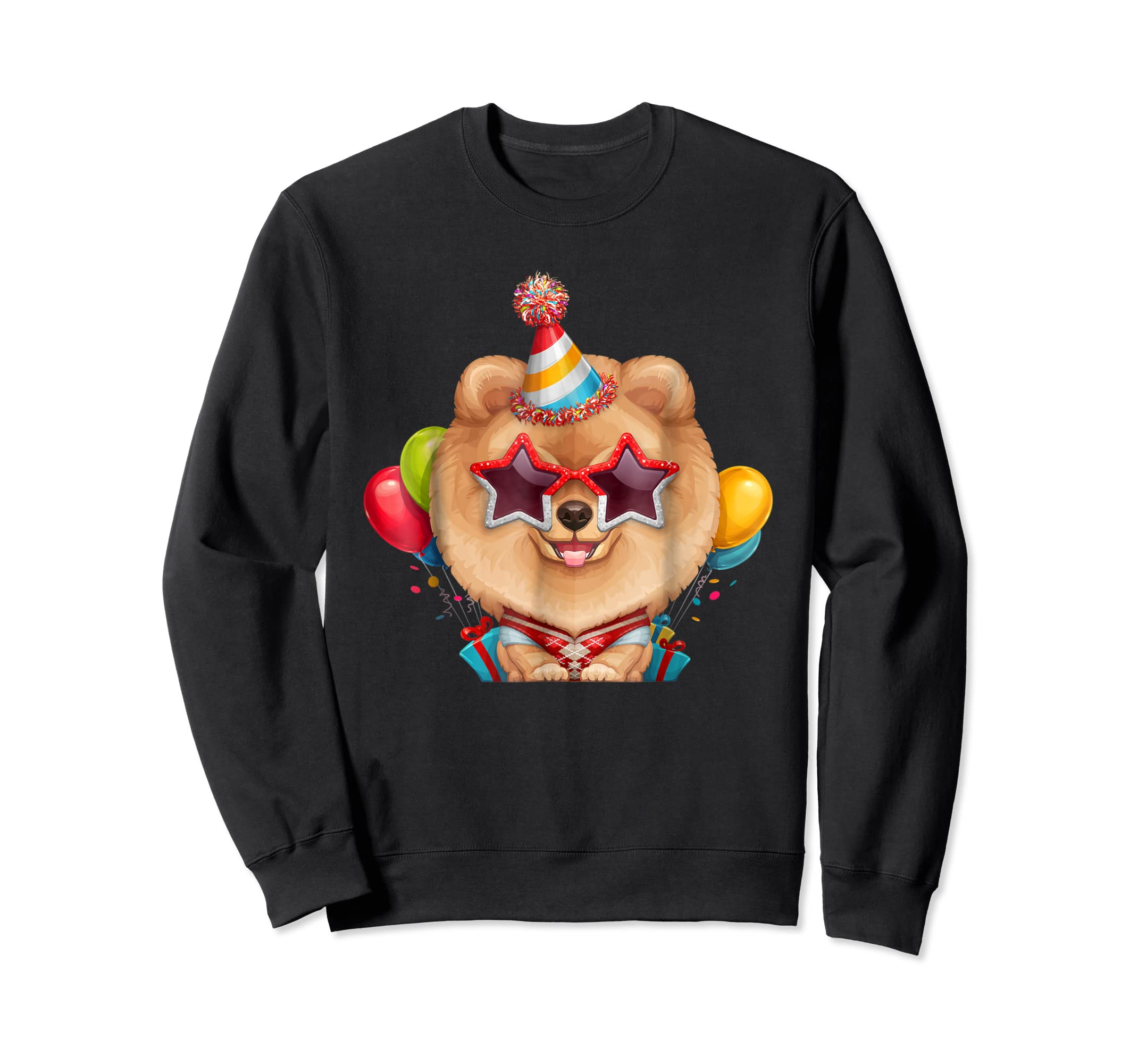 Orange Pomeranian in Glasses Birthday T-Shirt-Sweatshirt-Black