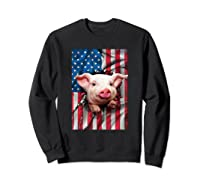Pig American Flag Gift Funny 4th Of July America Shirts Sweatshirt Black