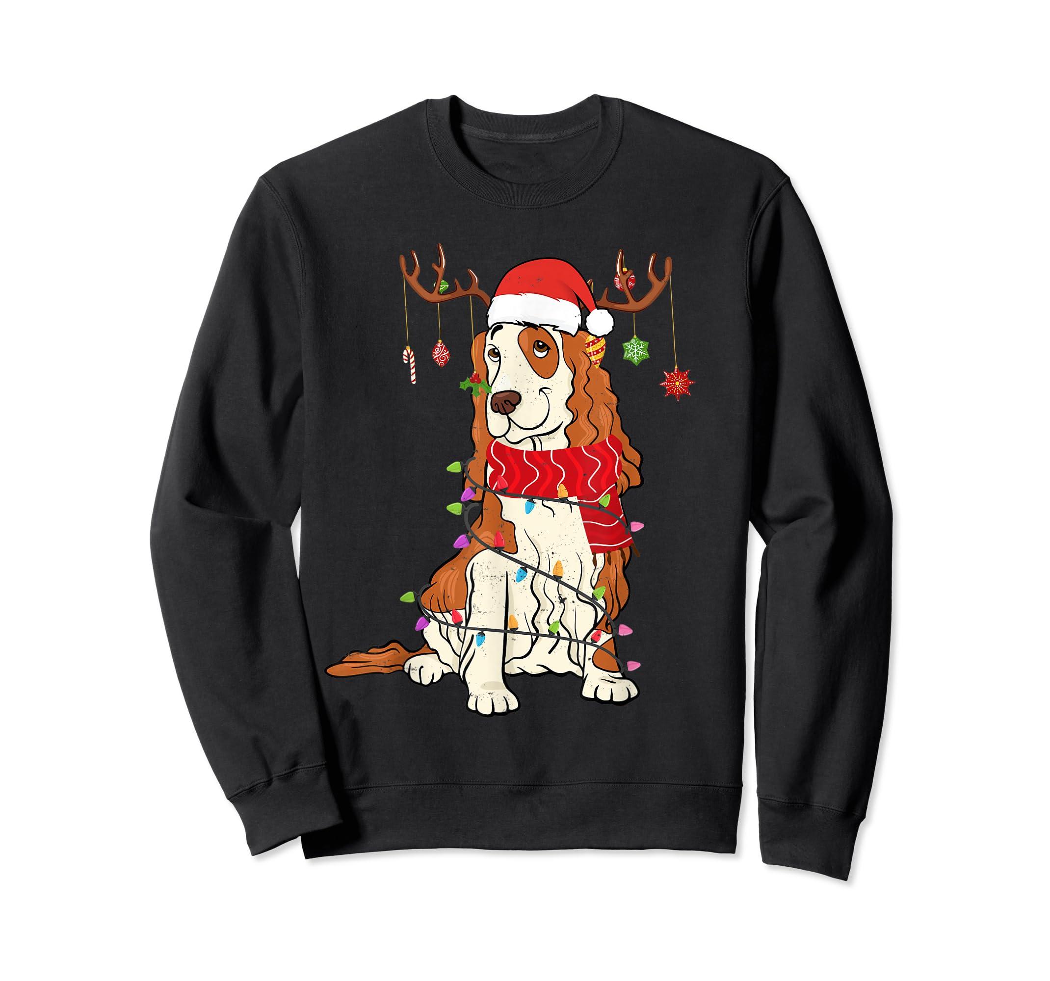 Funny Cocker Spaniel Christmas Reindeer Lights Xmas Dog T-Shirt-Sweatshirt-Black