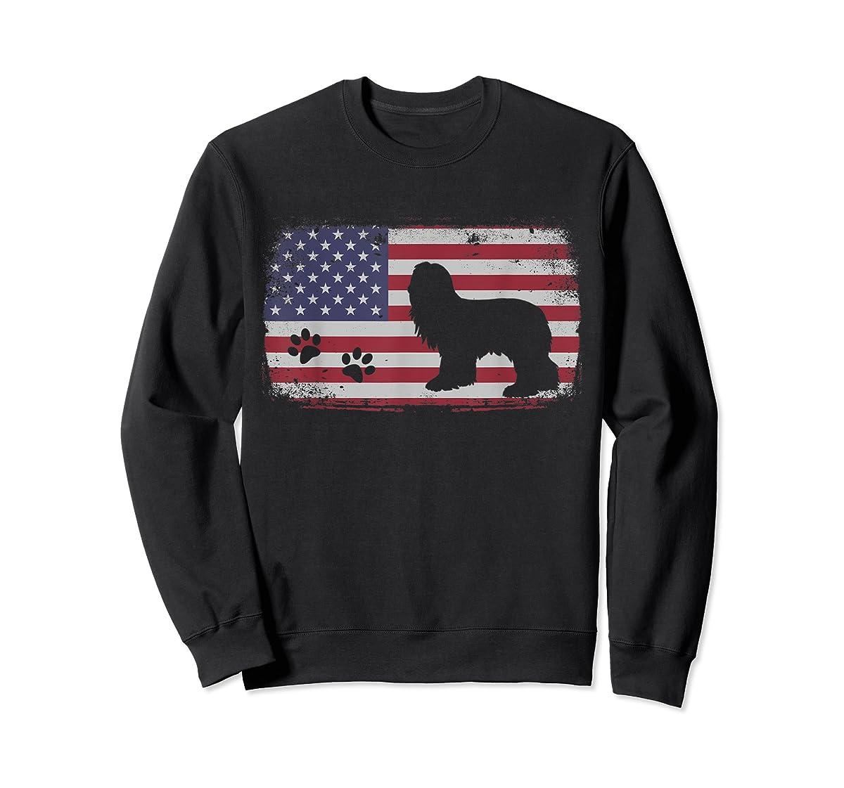 Vintage American Flag Bearded Collie Dog T-Shirt-Sweatshirt-Black