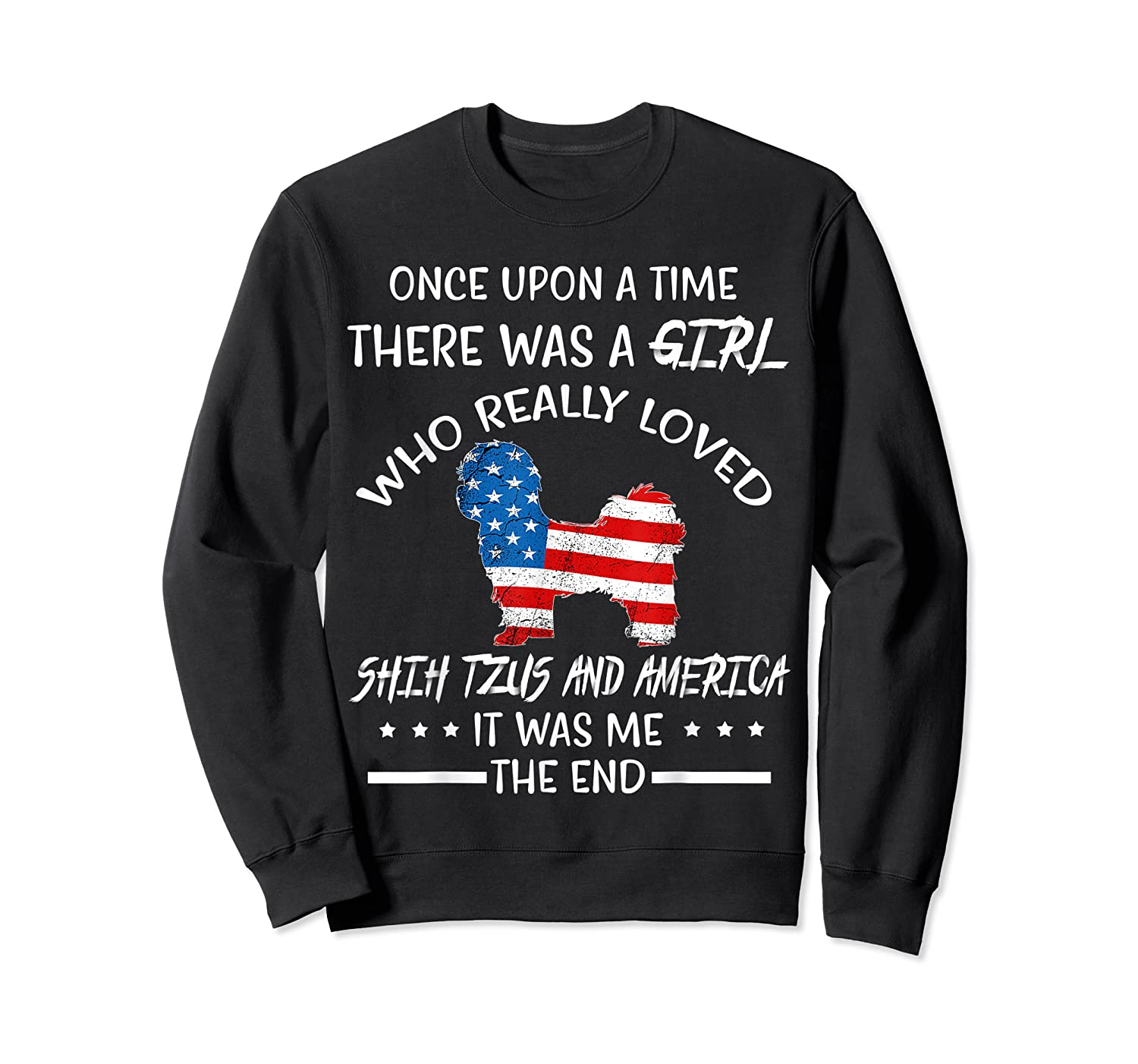 Once Upon A Time Shih Tzu America 4th Of July T Shirt Gift Crewneck Sweater