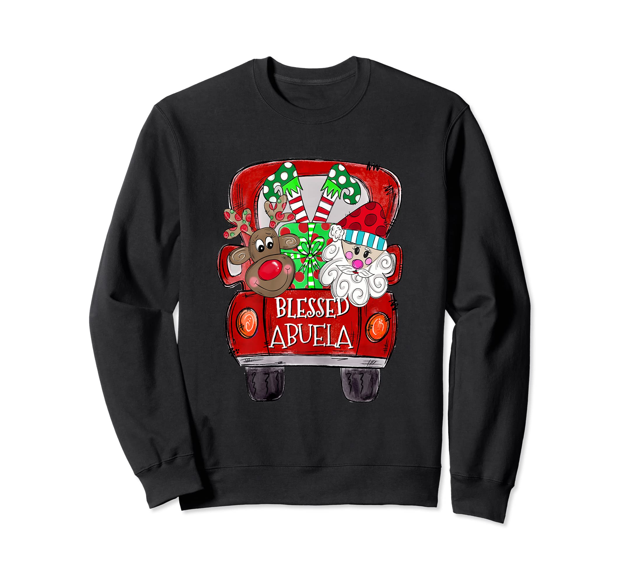 Womens Abuela Claus Cute Christmas Truck - Christmas Gift T-Shirt-Sweatshirt-Black