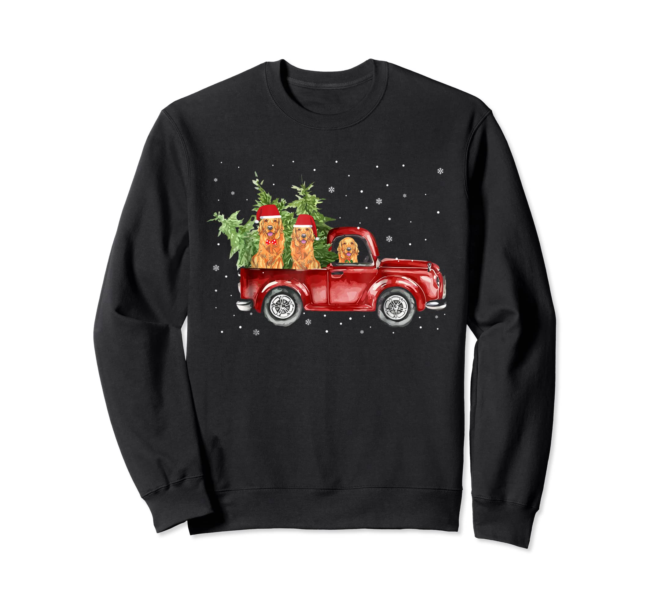 Golden Retriever Pickup Truck Christmas Tshirt-Sweatshirt-Black