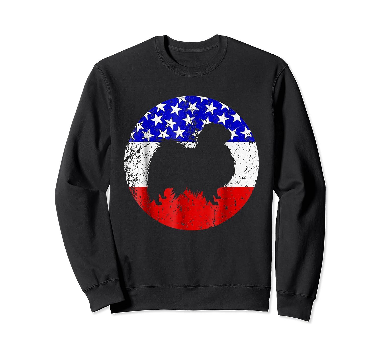 American Flag Japanese Chin Japanese Chin Dog Shirts Crewneck Sweater