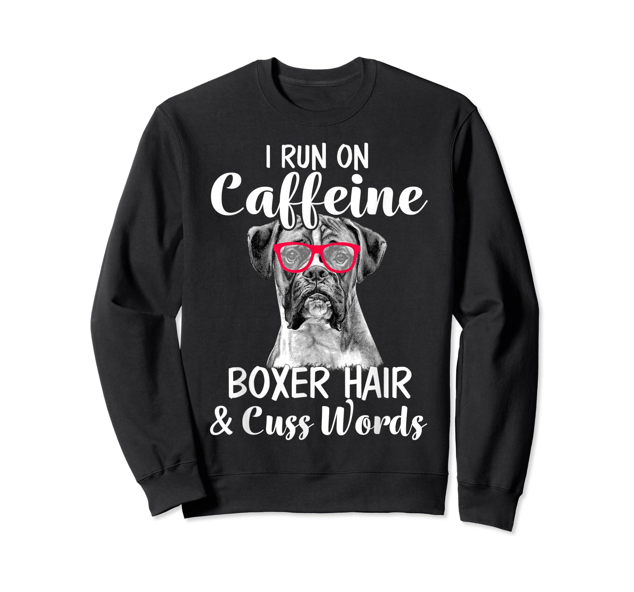 I Run On Caffeine Boxer Hair Mom Tshirt, Mothers Day Shirt-Sweatshirt-Black