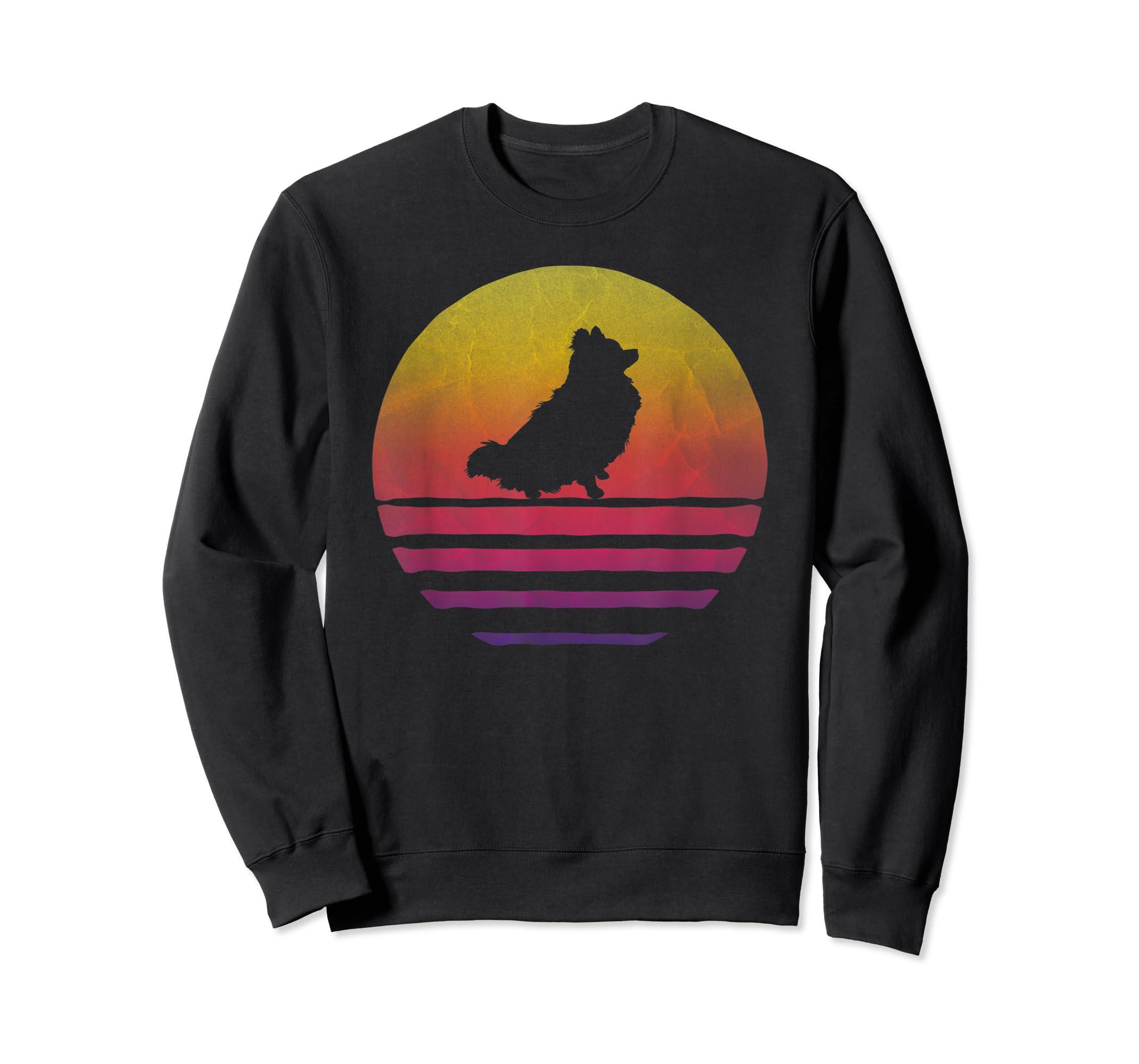 Retro Vintage Sunset Pomeranian Dog Lover Silhouette Gift T-Shirt-Sweatshirt-Black