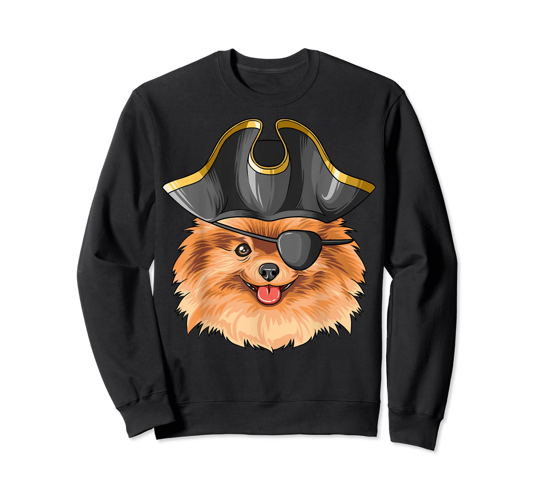 Pirate Pomeranian Pirates Hat Pomeranian T-Shirt-Sweatshirt-Black