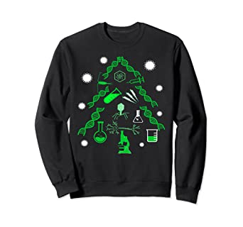 Amazon Com Science Christmas Tree Sweatshirt Dna Virus Microscope