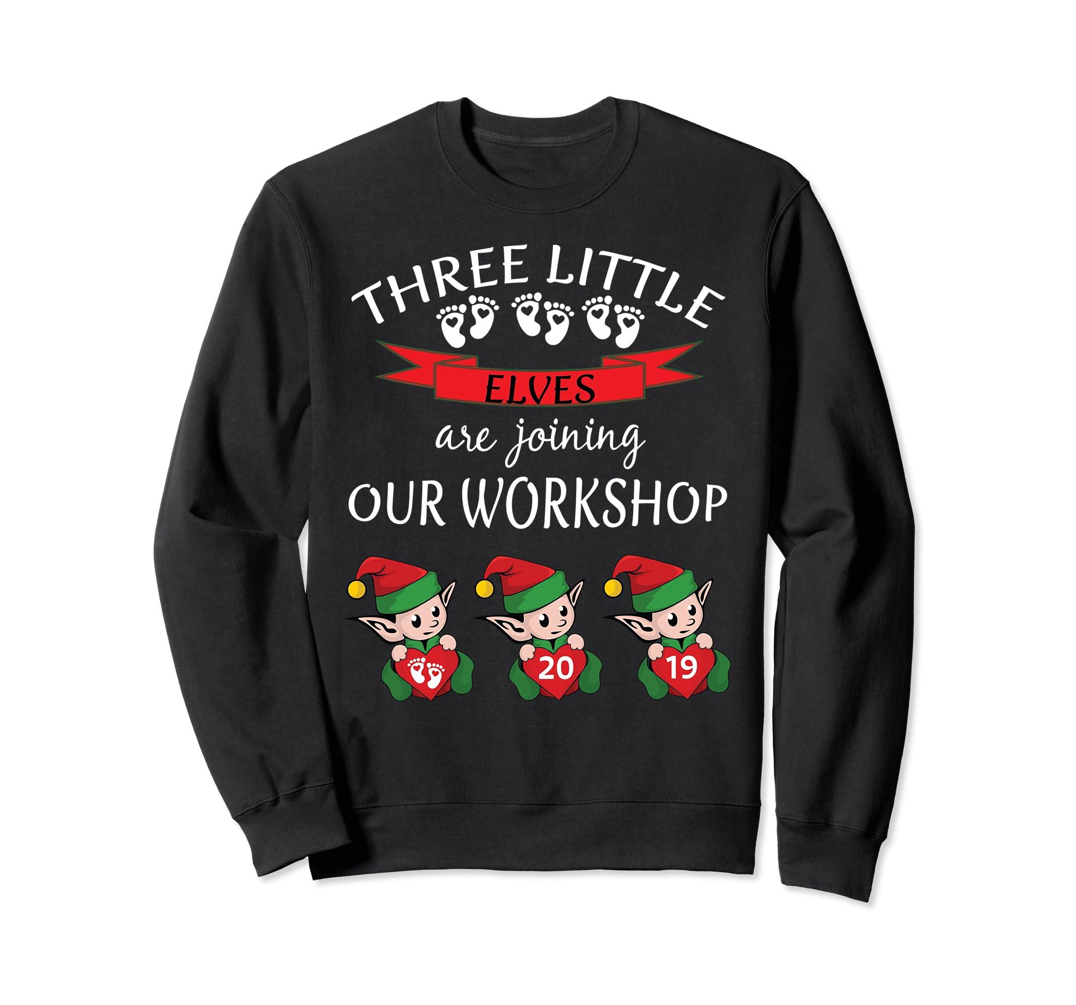 2019 Cute Triplets Christmas Baby Reveal Sweatshirt Elf Fun-SFL