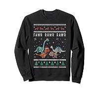 Dino Ugly Christmas Sweater Xmas Dinosaur Shirts Sweatshirt Black