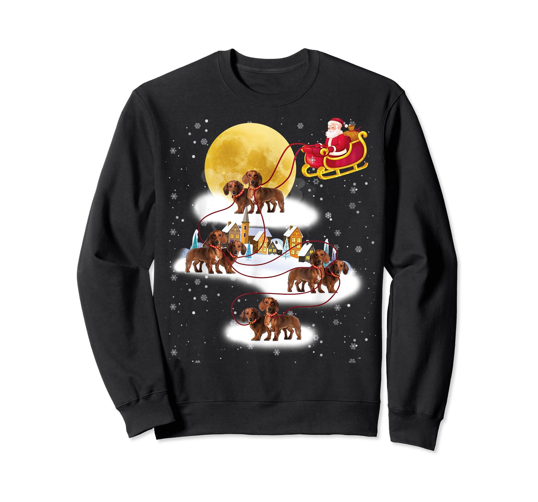 Dachshund Reindeer Christmas 2019 Dog Gift T-Shirt-Sweatshirt-Black