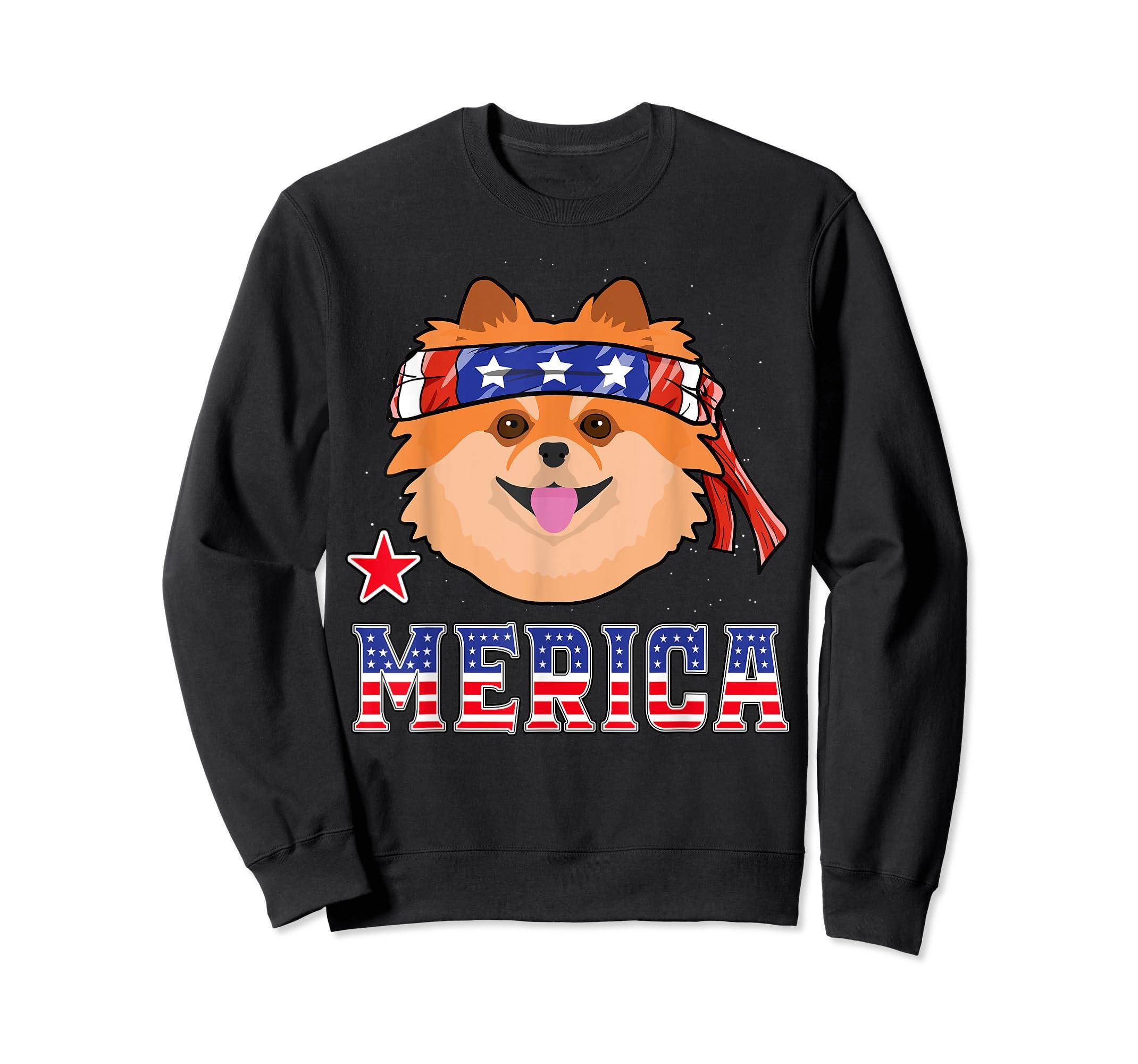 Pomeranian Dog Patriotic American 4th Of July Gift Dogs T-Shirt-Sweatshirt-Black