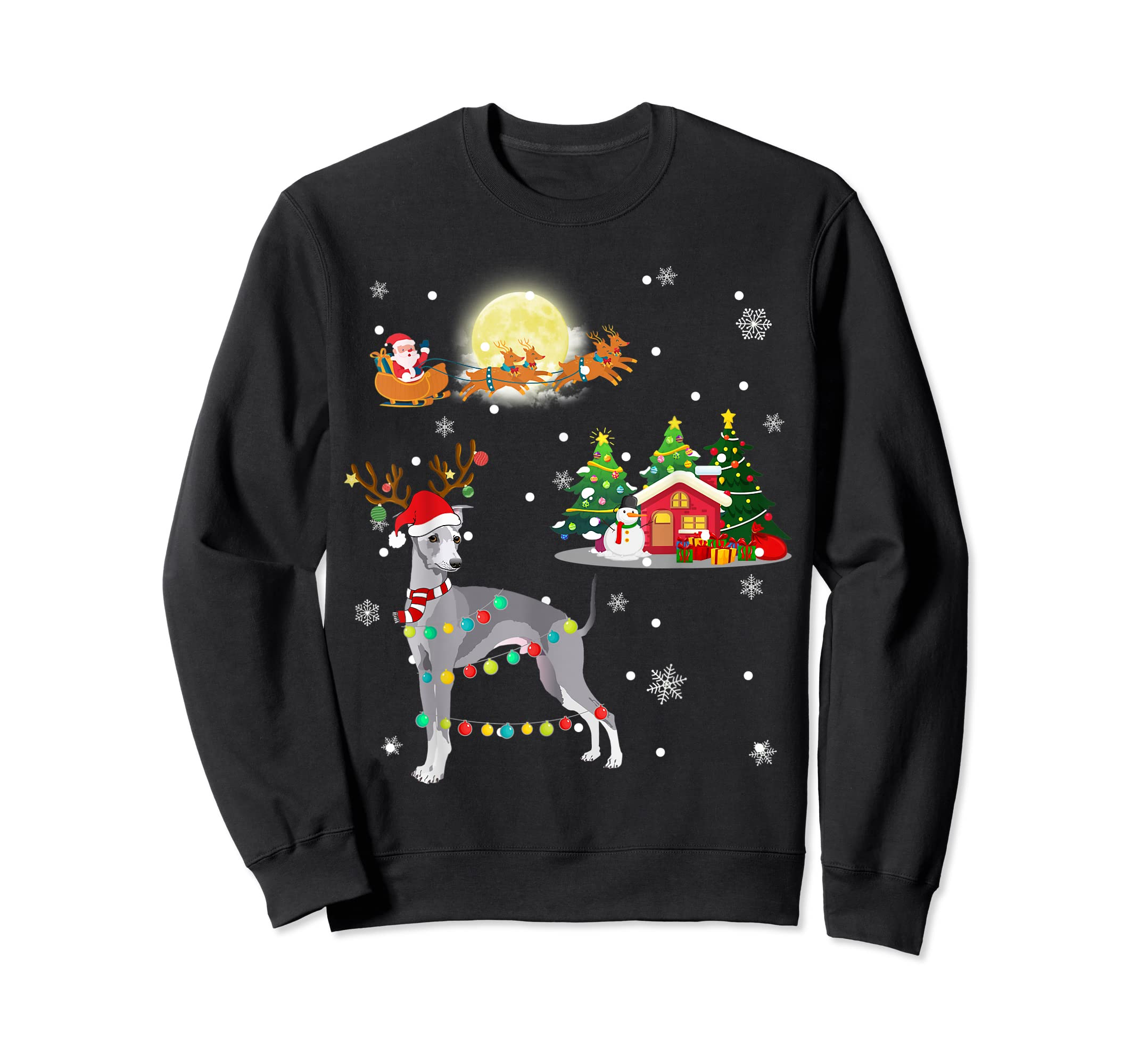 Greyhound Dog Led Light Christmas 2019 Gift T-Shirt-Sweatshirt-Black