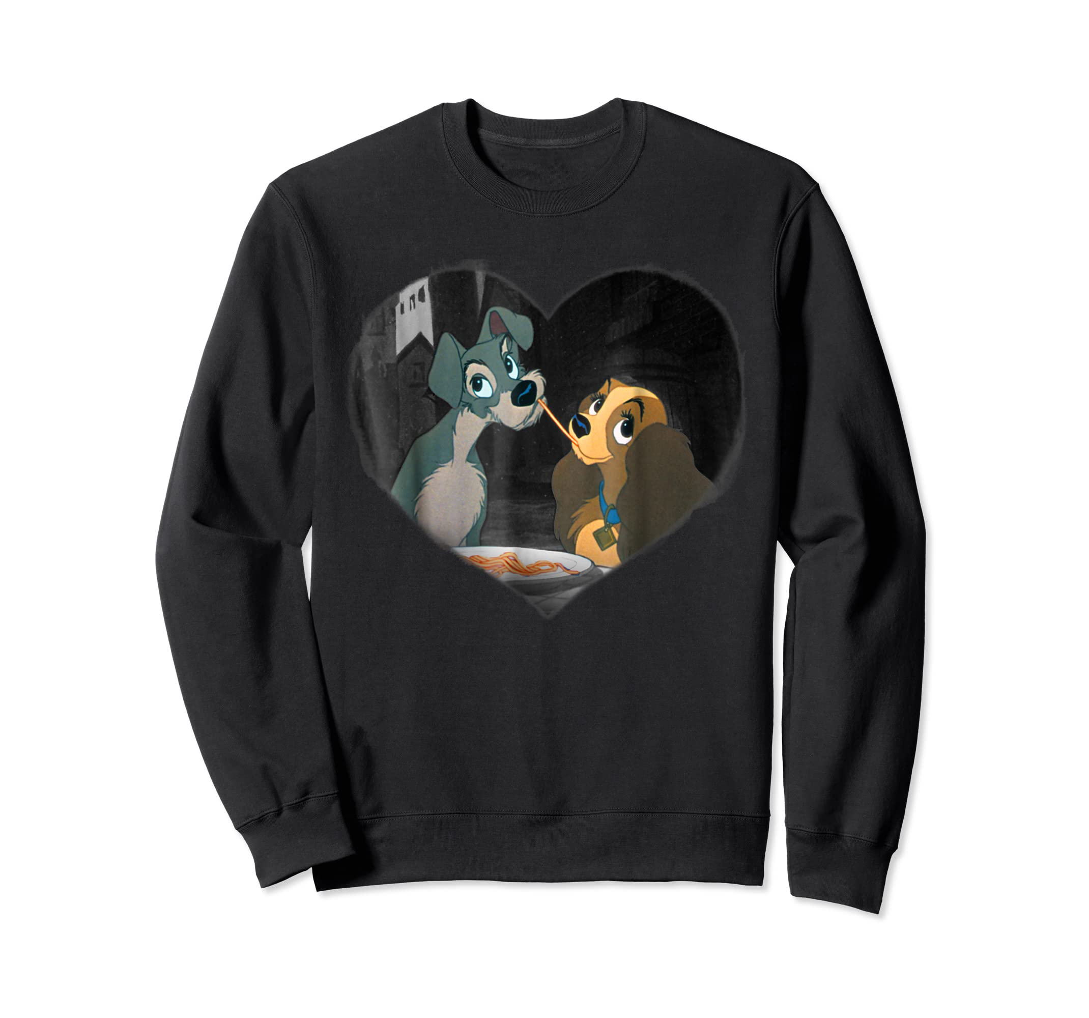 Disney Lady and the Tramp First Kiss T shirt-Sweatshirt-Black