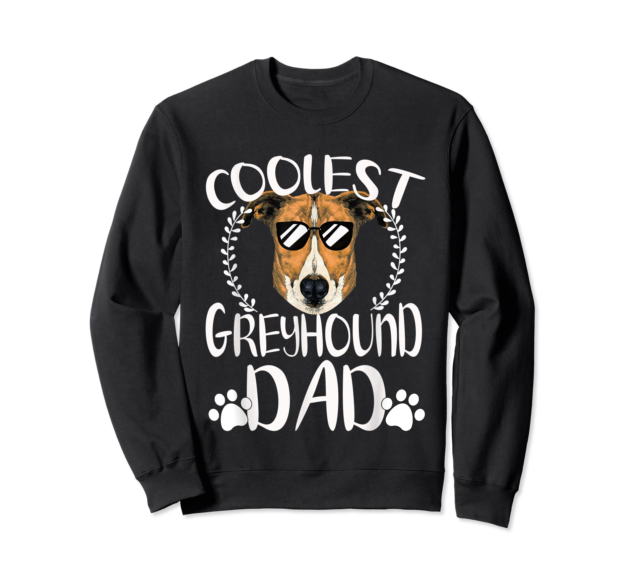 Glasses Coolest Greyhound Dog Dad T-Shirt Father's Day Gifts-Sweatshirt-Black
