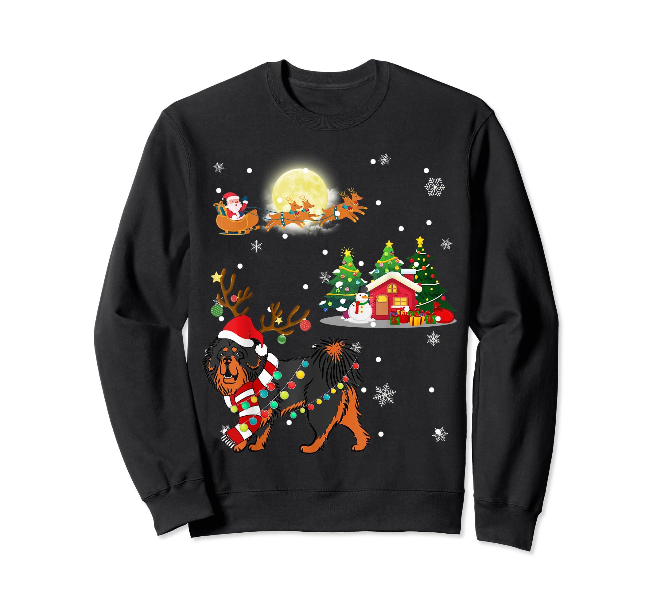 Tibetan Mastiff Dog Led Light Christmas 2019 Gift T-Shirt-Sweatshirt-Black