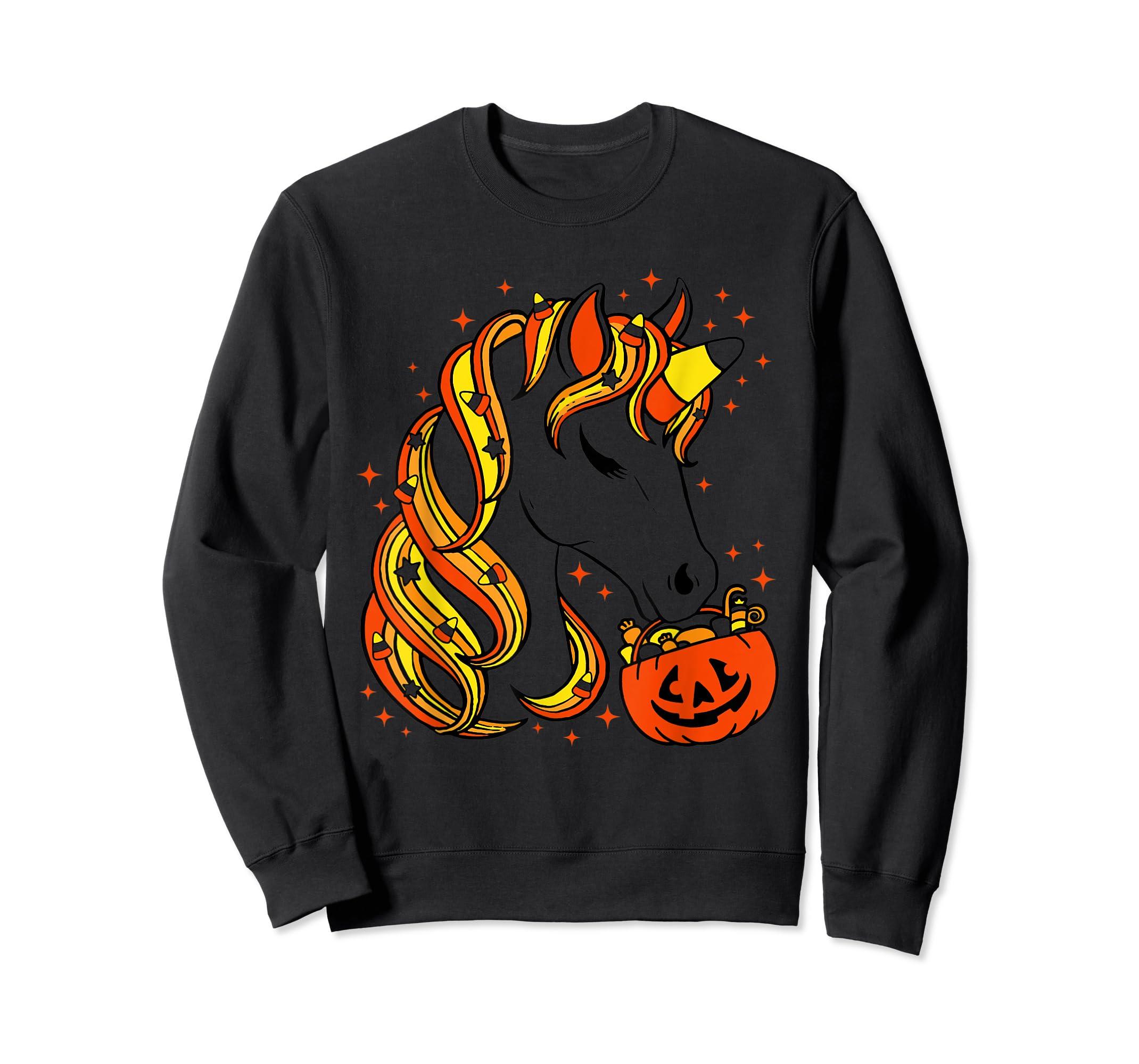 Cute Candy Corn Unicorn Halloween Top T-Shirt-Sweatshirt-Black