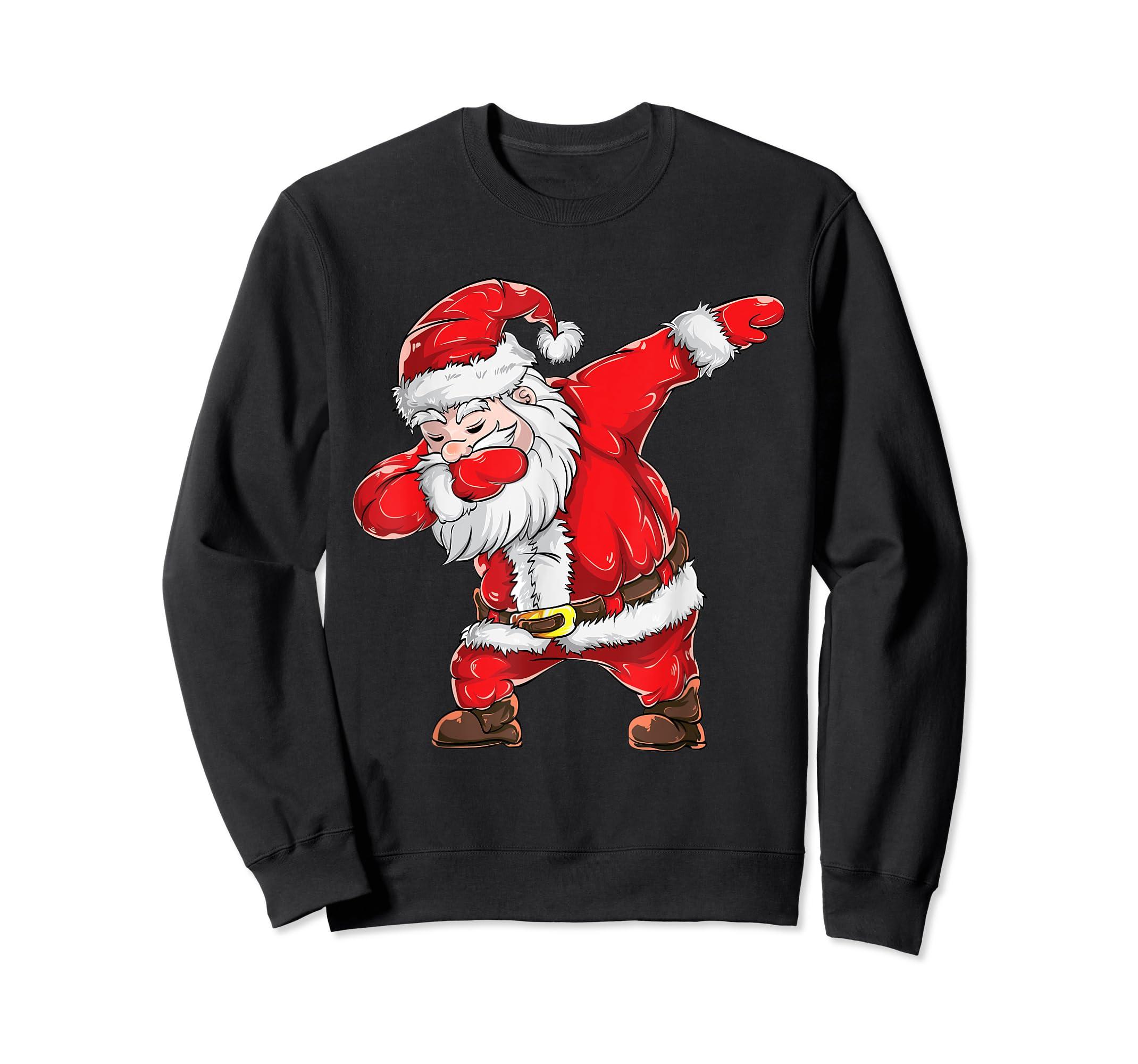 Dabbing Santa Claus Christmas Kids Boys Girls Dab Xmas Dance T-Shirt-Sweatshirt-Black