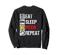 Eat Sleep Pitch Repeat Softball Player Pit Coach Premium T-shirt Sweatshirt Black