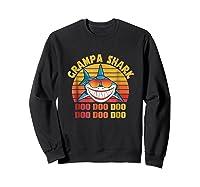Retro Vintage Style Grampa Shark Gift For Father Dad Shirts Sweatshirt Black