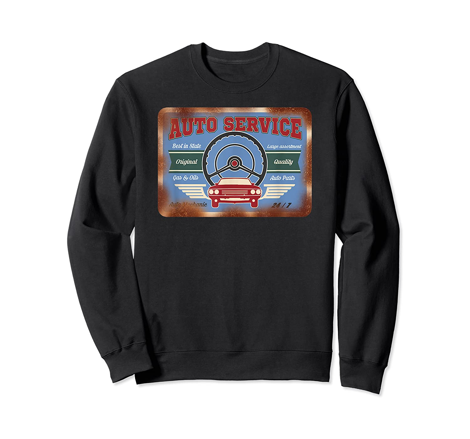 Auto Service Old Stuff Rusty Sign T Shirt Gift For Pickers Crewneck Sweater