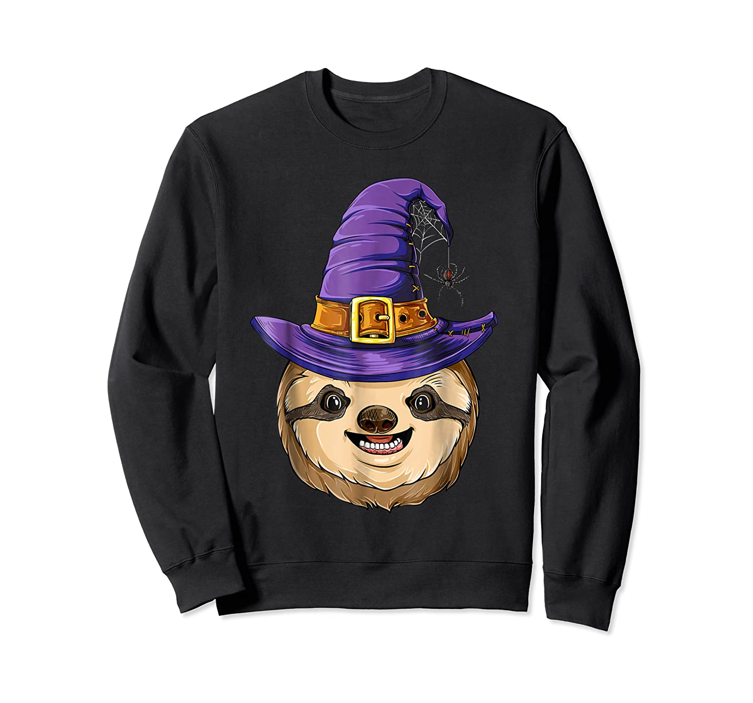 Sloth Witch T Shirt Halloween Girls Funny Costume Crewneck Sweater