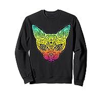 Techno Trance Edm Club Day Of The Dead Cat Sugar Skull Shirts Sweatshirt Black