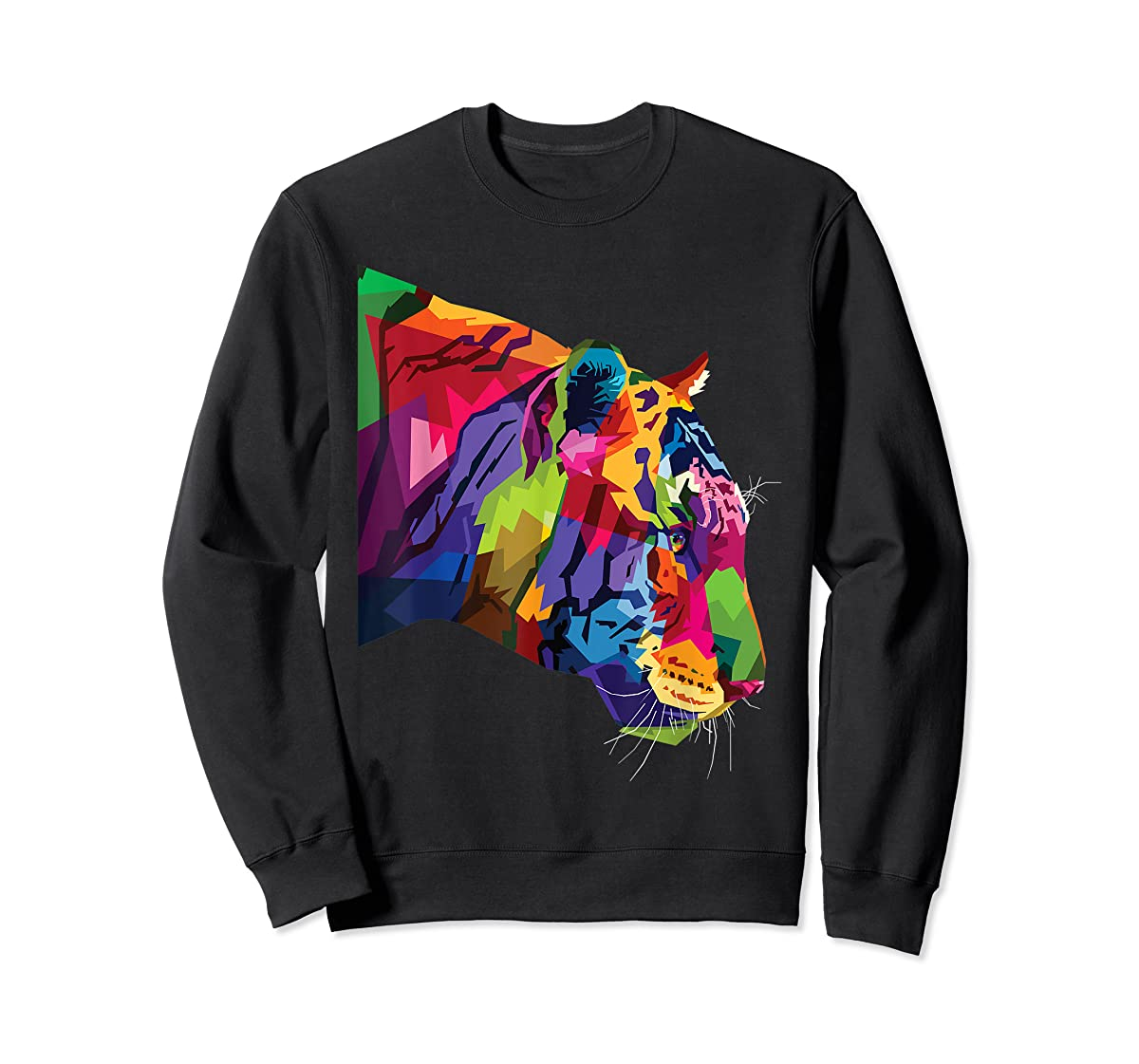 Tiger Shirt : Colorful Tiger's head Pop Art Style T-Shirt-Sweatshirt-Black