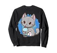 Kawaii Japanese Anime Cat Bubble Tea - Neko Kitty T-shirt Sweatshirt Black