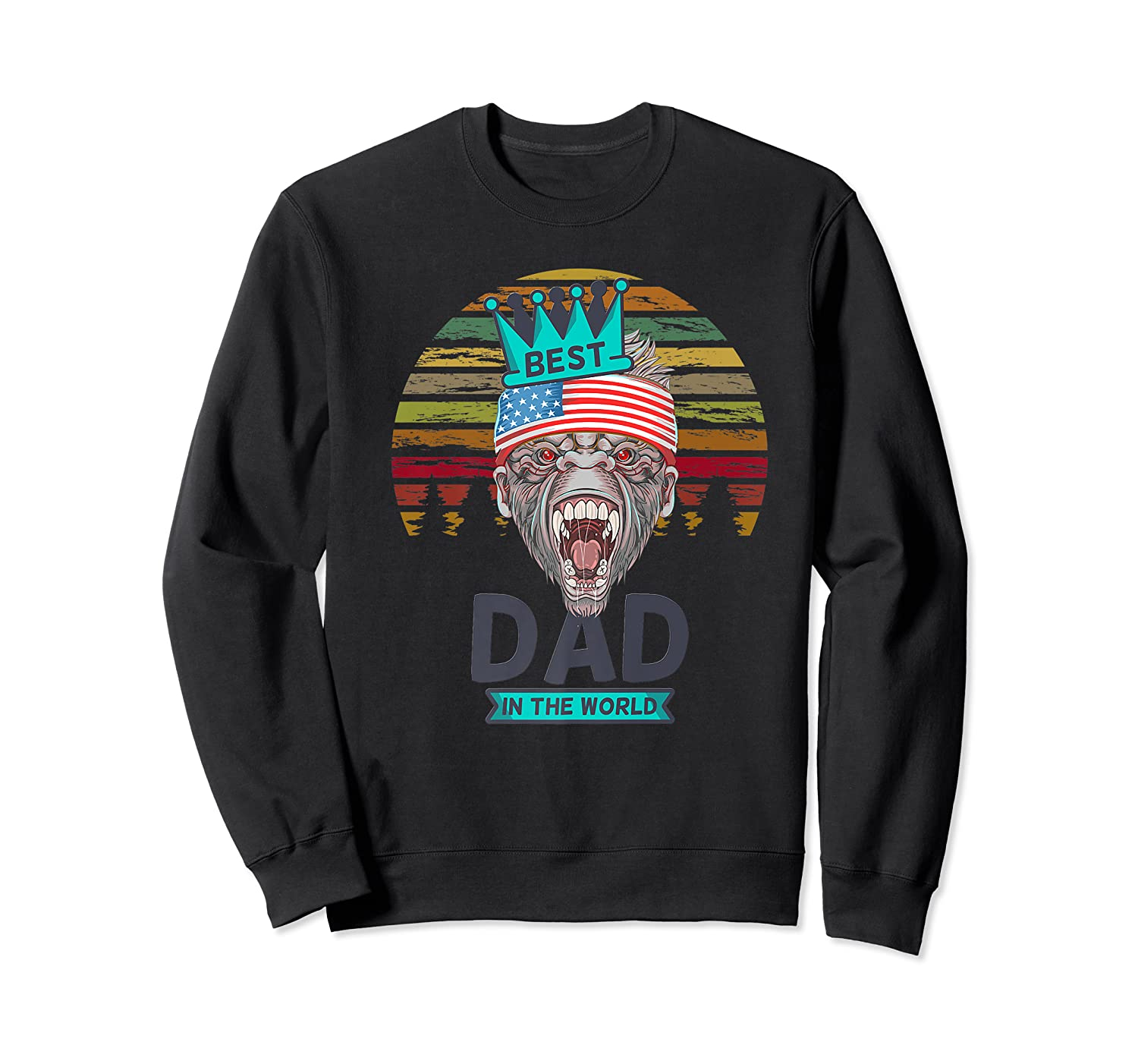 Funny Fathers Day Best Dad Ever Gorilla 4th Of July Premium T-shirt Crewneck Sweater