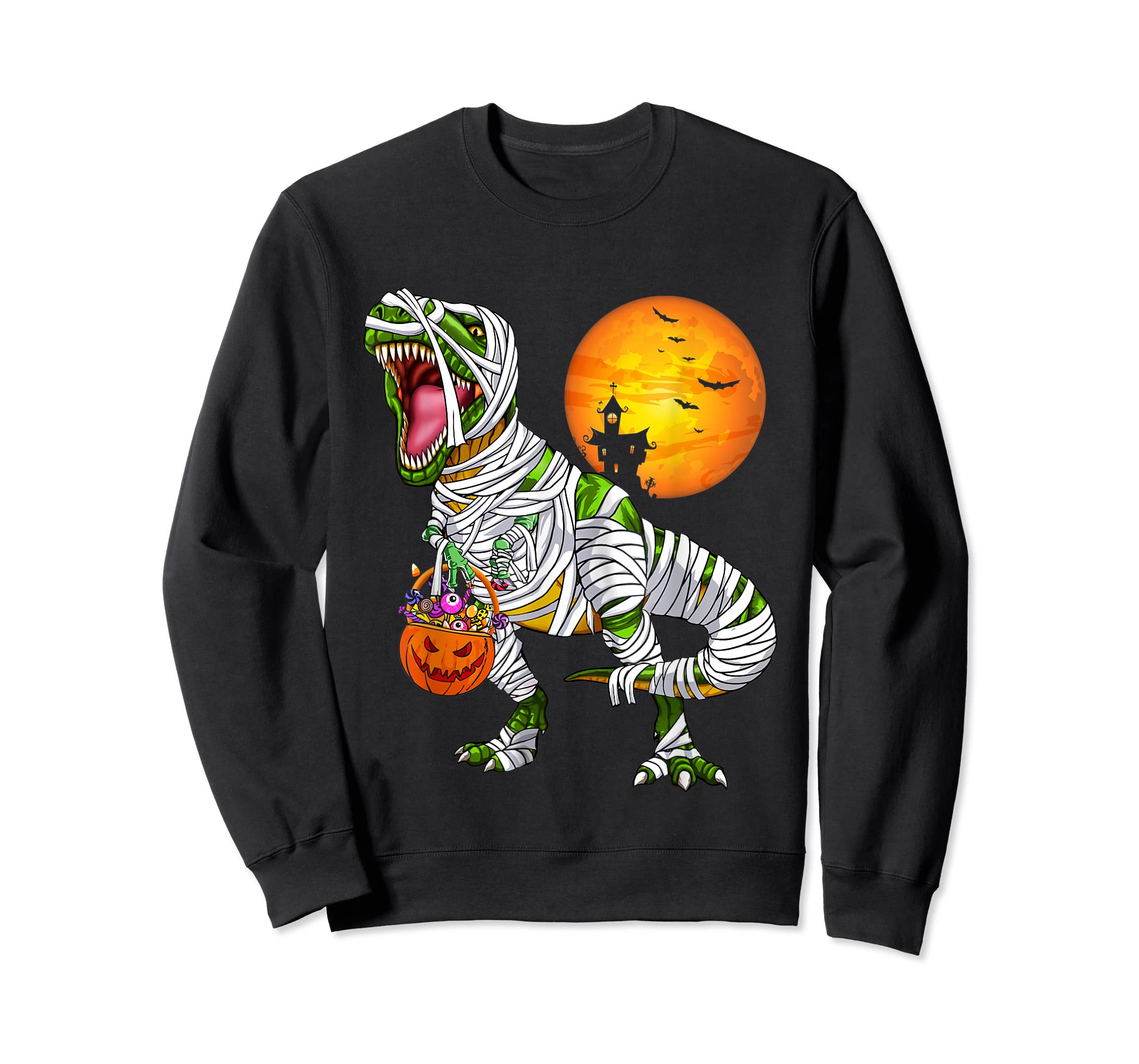 Halloween Gift For Boys Kids Dinosaur T rex Mummy Pumpkin T-Shirt-Sweatshirt-Black