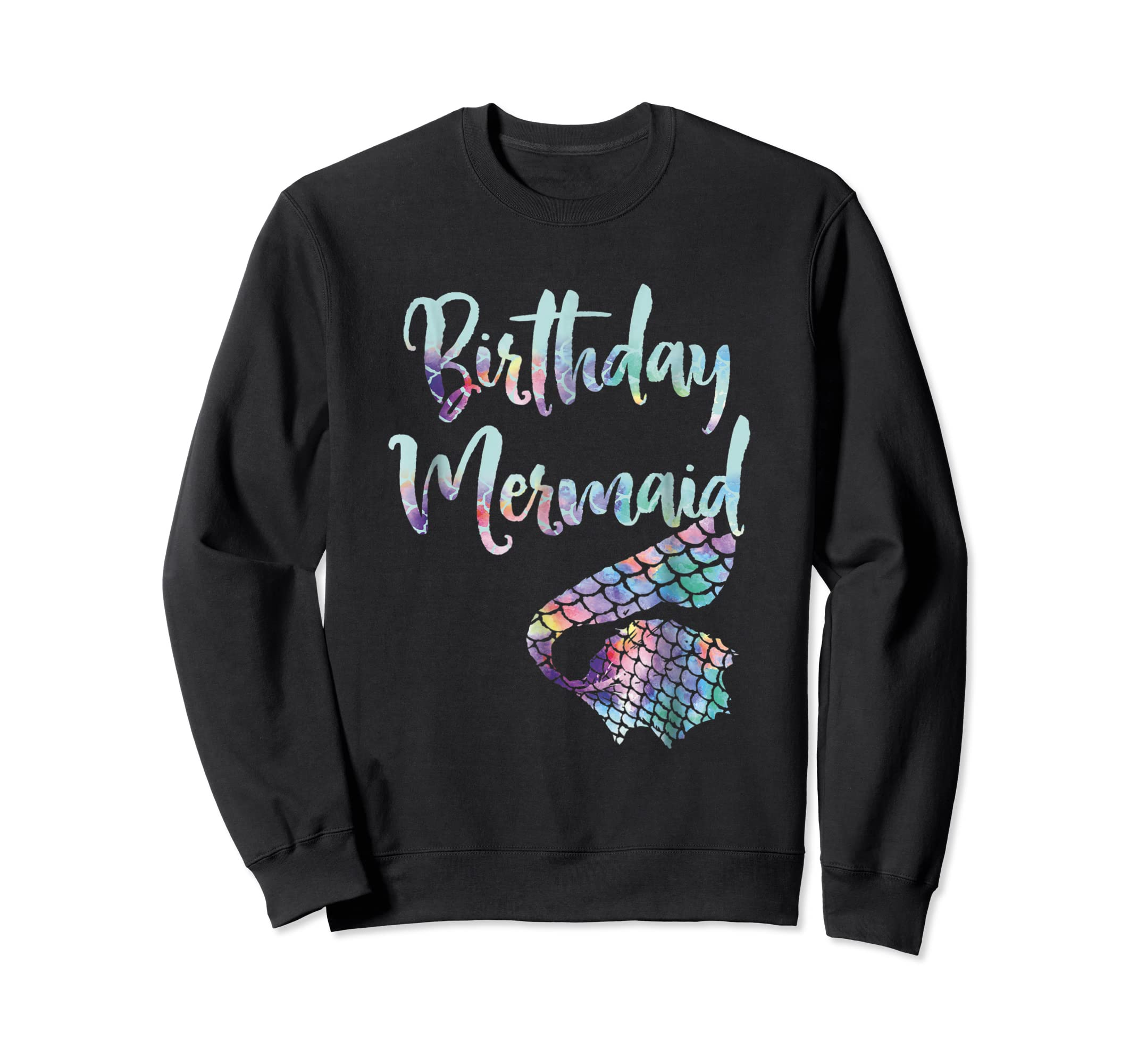 Birthday Mermaid Shirt-Sweatshirt-Black