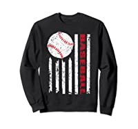 American Flag Baseball | July 4th Usa Flag Patriotic Design T-shirt Sweatshirt Black