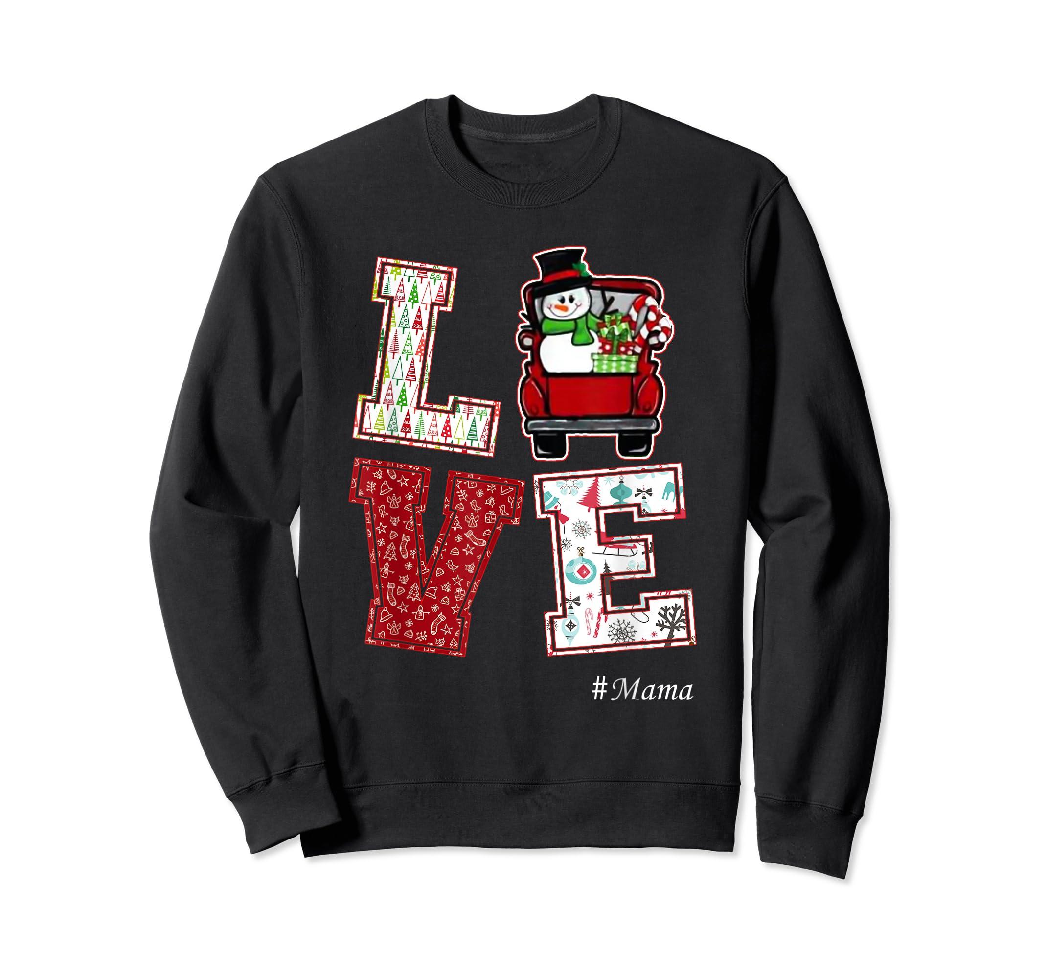 Christmas Love #Mama T-Shirt-Sweatshirt-Black