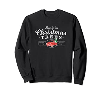 Old Red Truck With Christmas Tree In Back.Amazon Com Red Truck Christmas Tree Vintage Sweater
