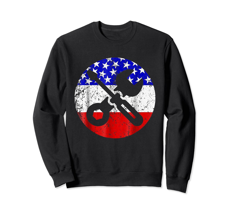 American Flag Car Mechanic Shirt - Screwdriver Wrench Shirt Crewneck Sweater