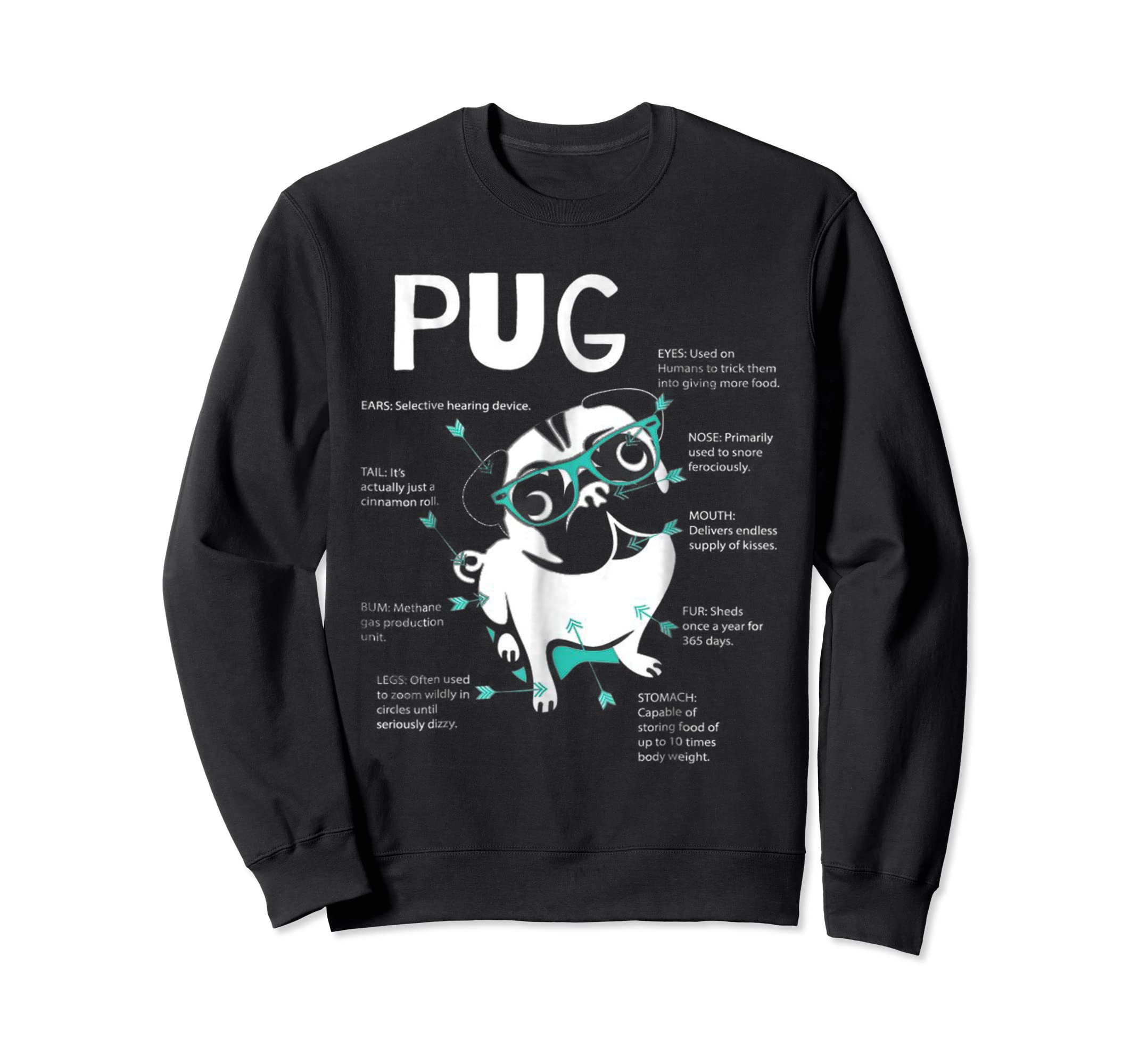 Anatomy Of A Pug Tshirt-Sweatshirt-Black