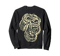 Angry Great Ape Art T-shirt Fierce Silverback Gorilla Face Sweatshirt Black