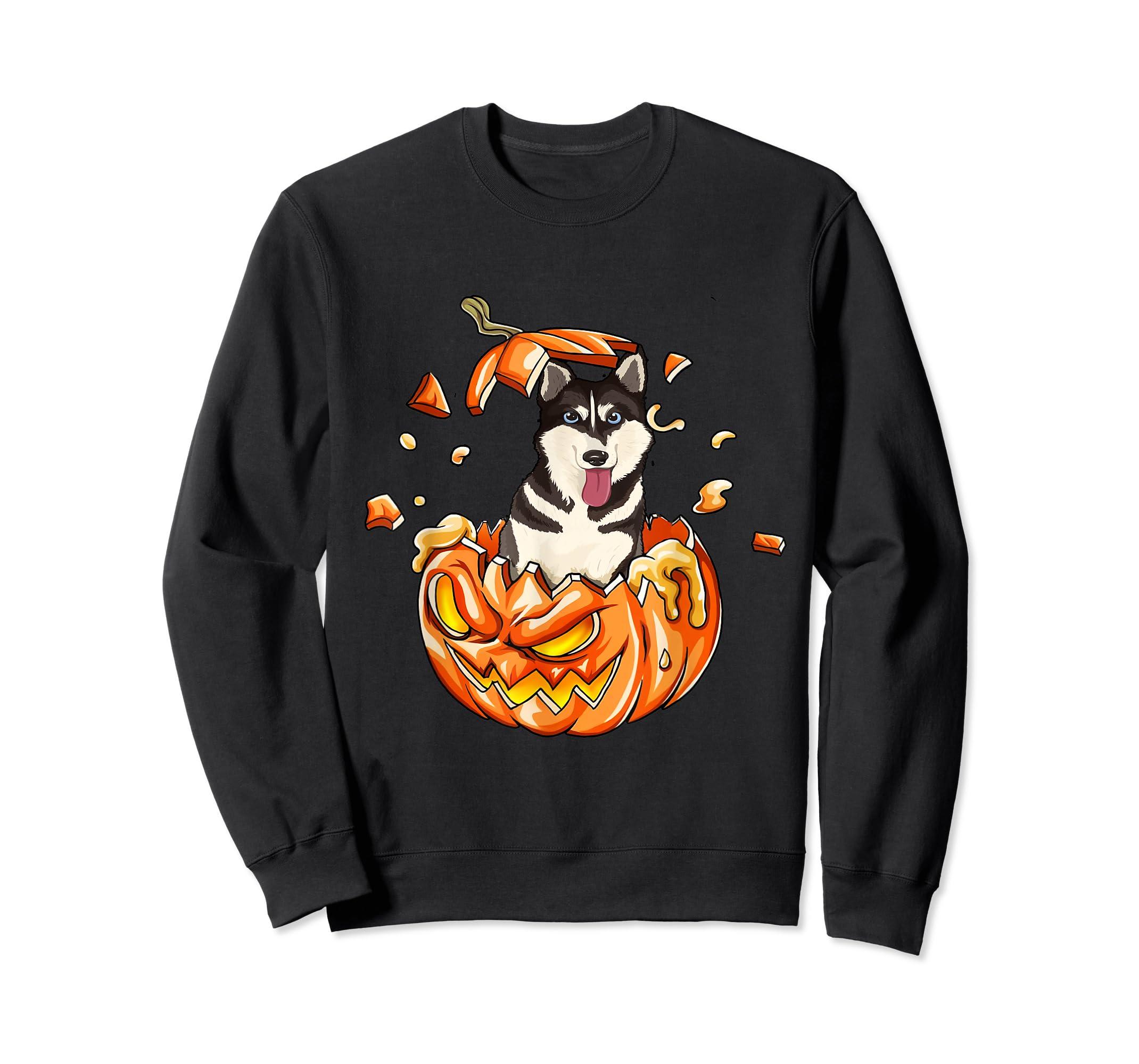 Halloween Pumpkin T-Shirt Siberian Husky Lovers Gifts T-Shirt-Sweatshirt-Black