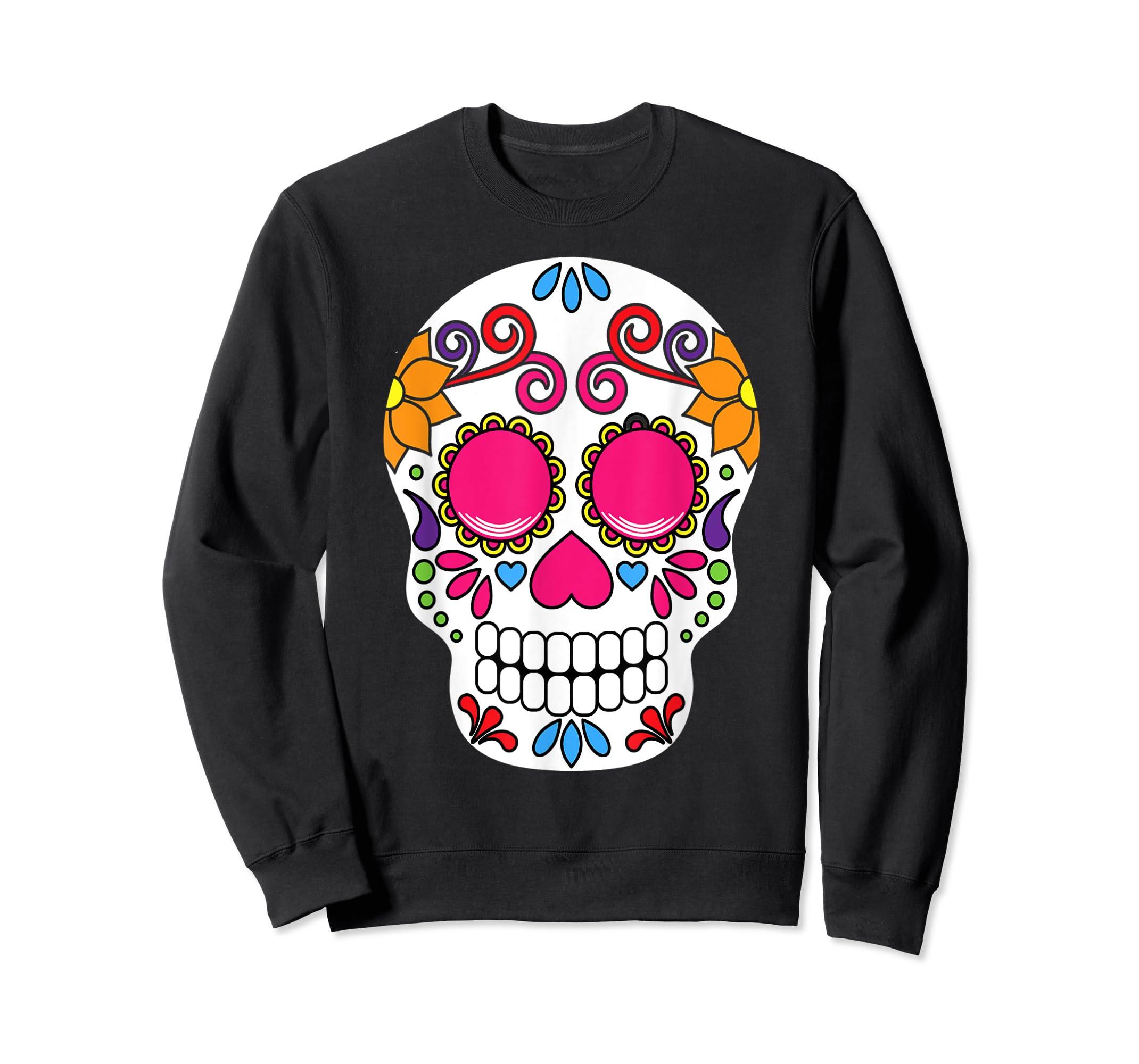 Colorful Day Of The Dead Sugar Skull Halloween T-shirt-Sweatshirt-Black