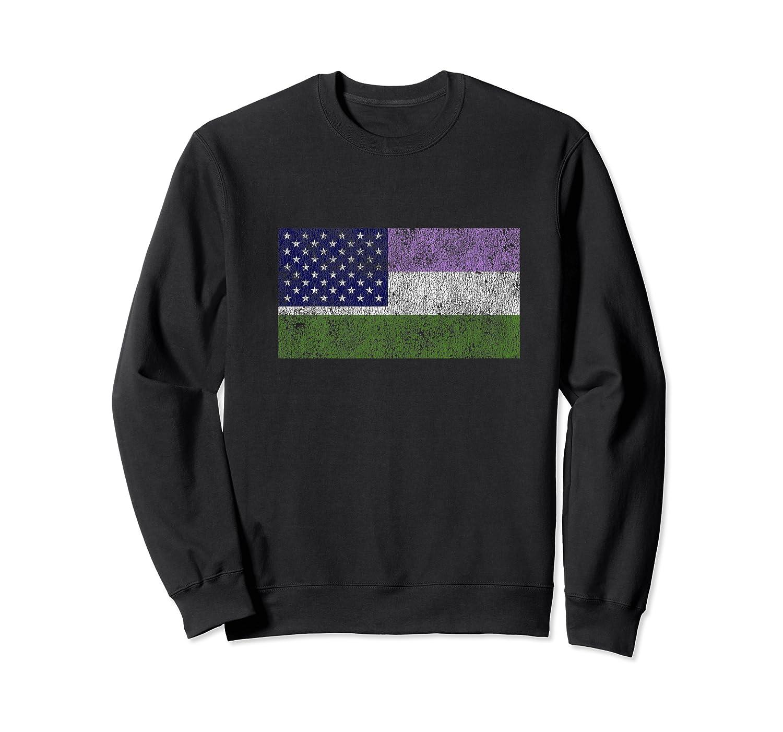 Genderqueer Pride Usa Flag Lgbtq Gay Pride Month Week Gifts Premium T-shirt Crewneck Sweater