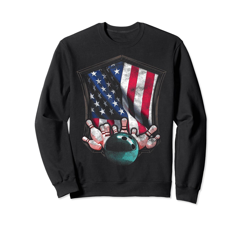 Vintage Bowling T Shirt American Usa Flag Bowling T-shirt Crewneck Sweater